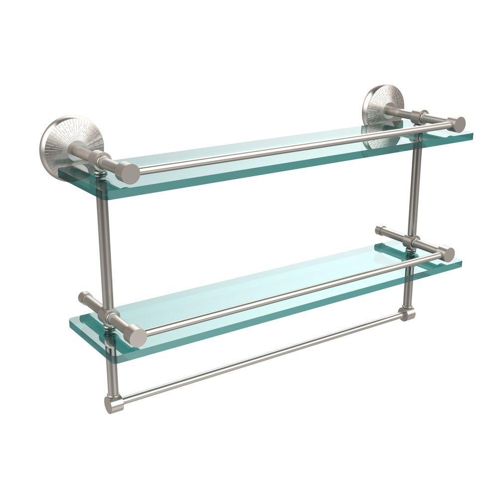 Allied Brass 22 In L X 12 In H X 5 In W 2 Tier Clear Glass Bathroom Shelf With Towel Bar In