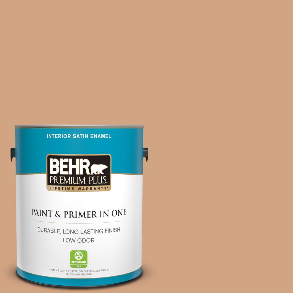 BEHR Premium Plus 1 gal. #260F-4 Sunset Beige Satin Enamel Low Odor Interior Paint and Primer in One