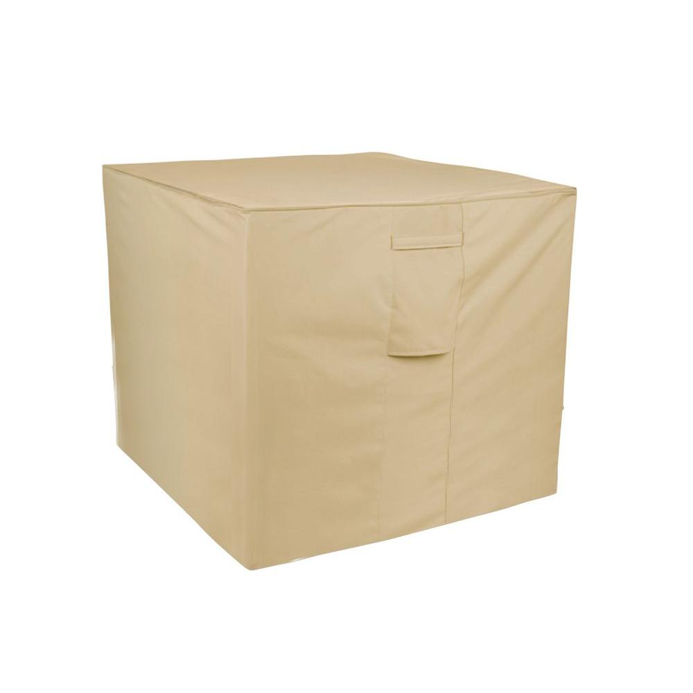 Two Dogs Designs Air Conditioner Cover in Khaki, Beige/Bisque The Two Dog Air Conditioner Cover protects your unit when not in use from damage by the elements. These beautiful covers are made of a durable polyester with bonded seams and a thick PVC lining to help you protect your investment. Two Dogs Design covers are offered for regular and oversized furniture, grills, fire pits and log racks to help you create a unified look for your outdoor living area. Color: Beige/bisque.