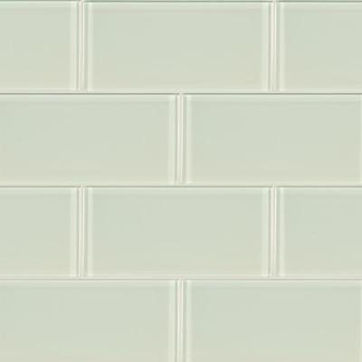 Arctic Ice 3 in. x 6 in. Glossy Glass White Subway Tile (1 sq. ft. / case)