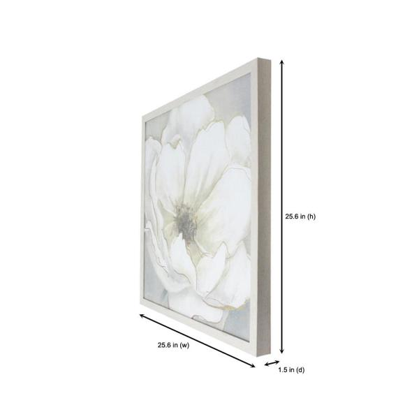 Home Decorators Collection Home Decorators Collection Square Framed White Flower Wall Art 26 In H X 26 In W Wp30051hd The Home Depot