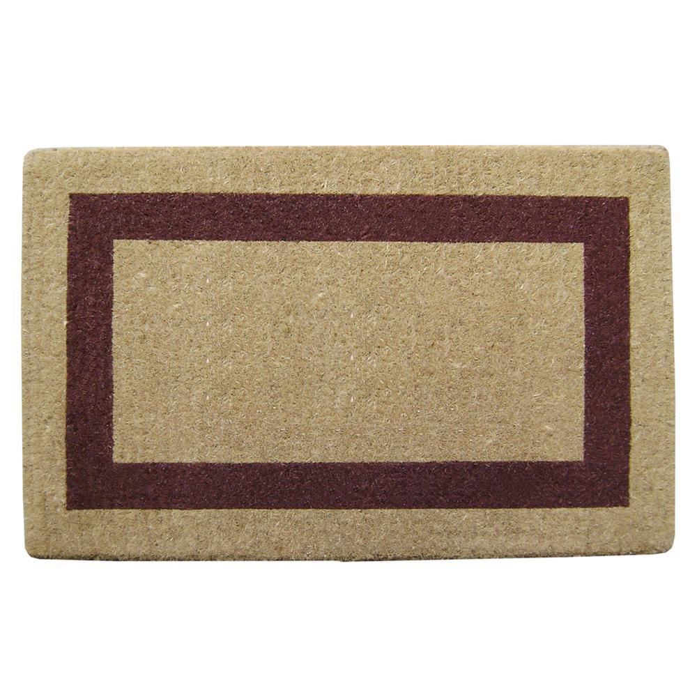 Single Picture Frame Brown 38 in. x 60 in. Heavy Duty Coir Plain Door Mat