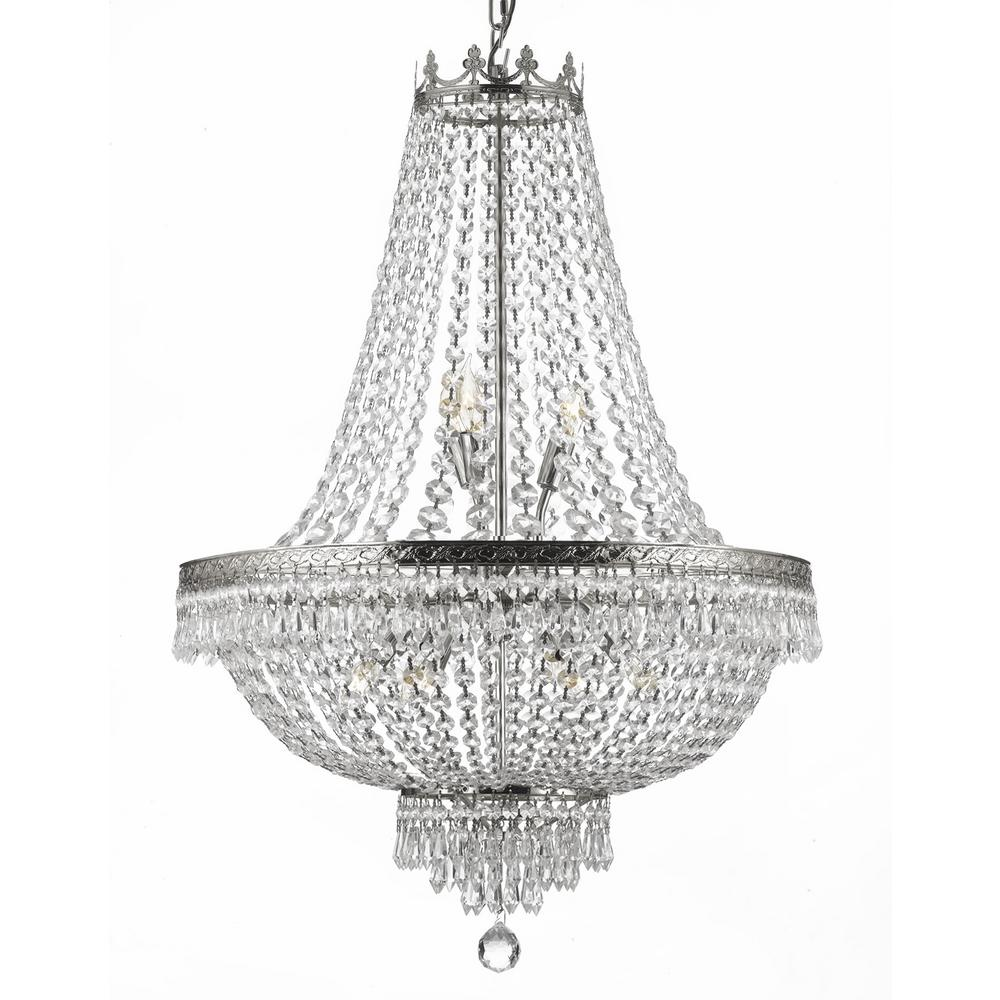 Empire 9 light crystal silver chandelier t40 226 the home depot empire 9 light crystal silver chandelier mozeypictures Images