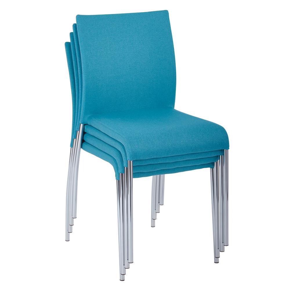 OSP Home Furnishings Conway Aqua Fabric Stacking Chairs (Set of 4), Blue OSP Home Furnishings Conway Aqua Fabric Stacking Chairs (Set of 4), Blue