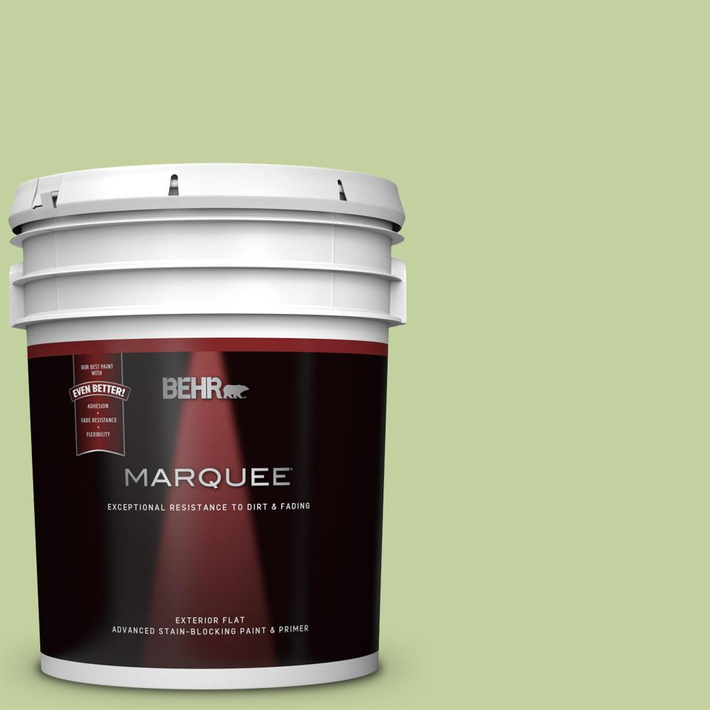 Behr Marquee 5 Gal P370 4 Cricket Field Flat Exterior Paint And Primer In One 445405 The Home Depot