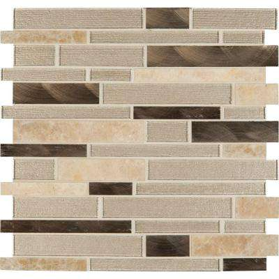 Champagne Toast Interlocking 12 in. x 12 in. x 4 mm Glass Metal Stone Mesh-Mounted Mosaic Tile (20 sq. ft. / case)