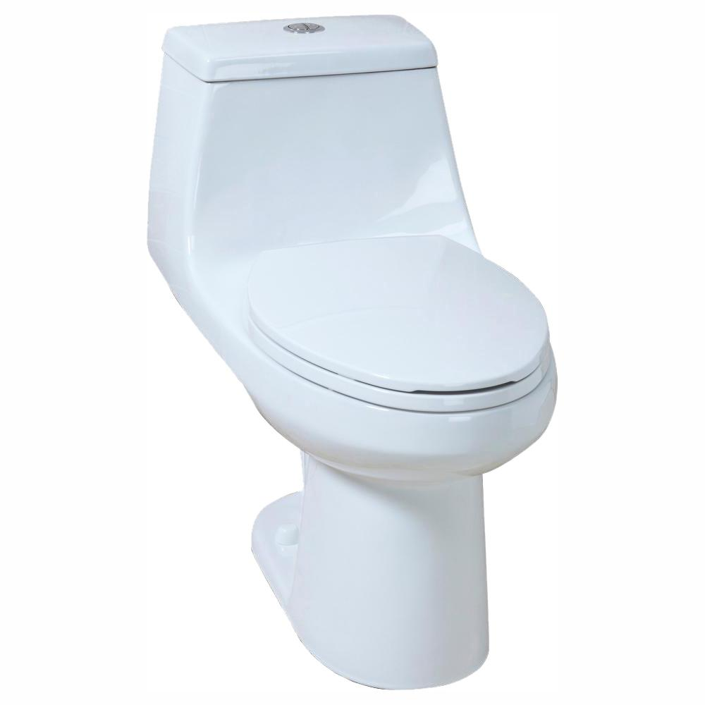 Glacier Bay 1-Piece 1.1 GPF/1.6 GPF High Efficiency Dual Flush Elongated All-in-One Toilet in White