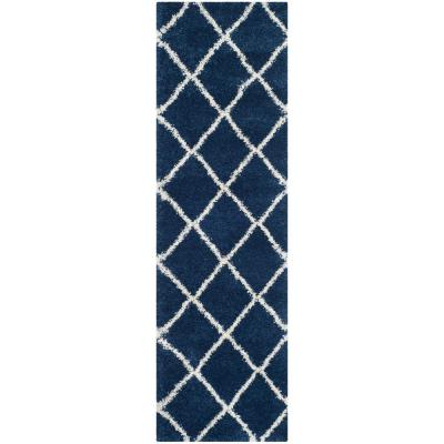 Hudson Shag Navy/Ivory 2 ft. 3 in. x 14 ft. Runner Rug