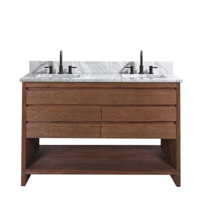 Kai 49 in. W x 22 in. D x 35 in. H Bath Vanity in Brown Reclaimed Wood with Marble Vanity Top in White and White Basin