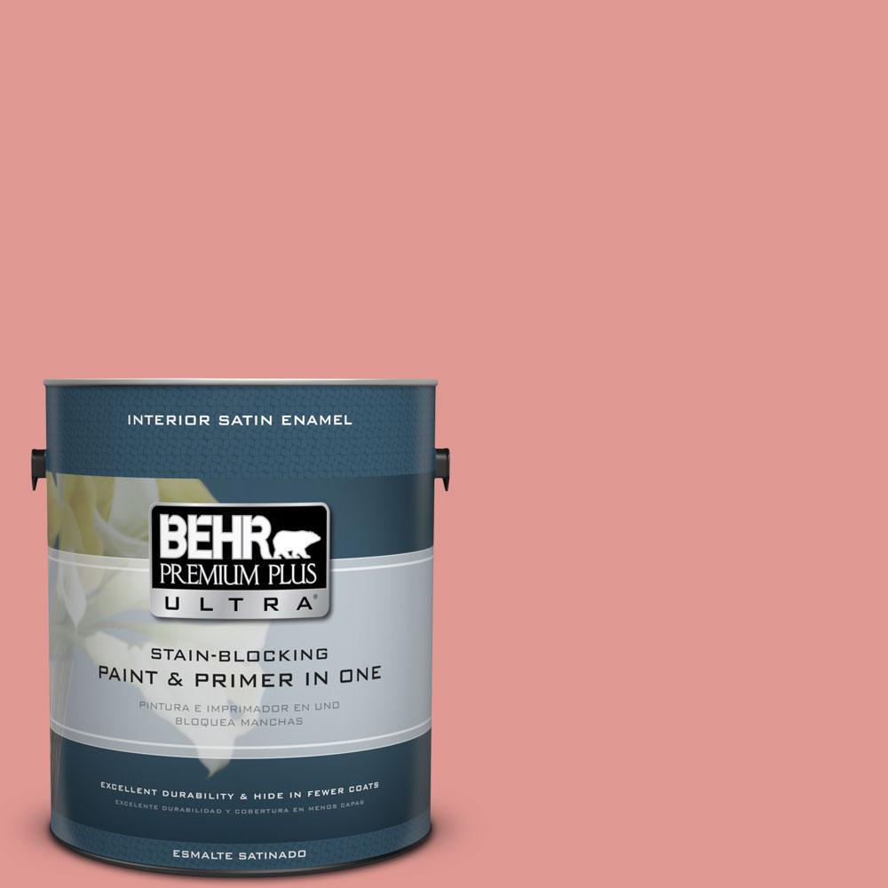 BEHR Premium Plus Ultra 1-gal. #160D-4 Strawberry Rose Satin Enamel Interior Paint