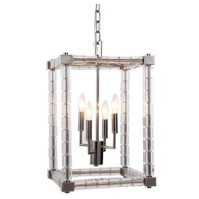 Cristal 4-Light Polished Nickel Crystal Clear Pendant