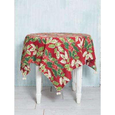 48 in. x 72 in. Jolly Holly Red Tablecloth
