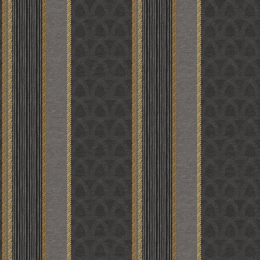 The Wallpaper Company 56 sq. ft. Black Stylized Multi Patterned Stripe with Metallic Accents Wallpaper