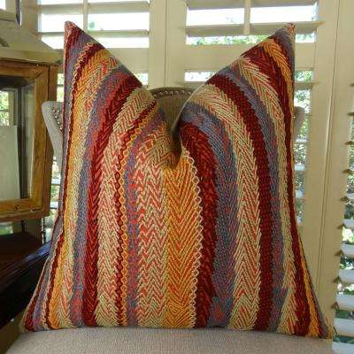 Red Earth 20 in. x 36 in. King Red, Blue and Orange Hypoallergenic Down Alternative Double Sided Throw Pillow