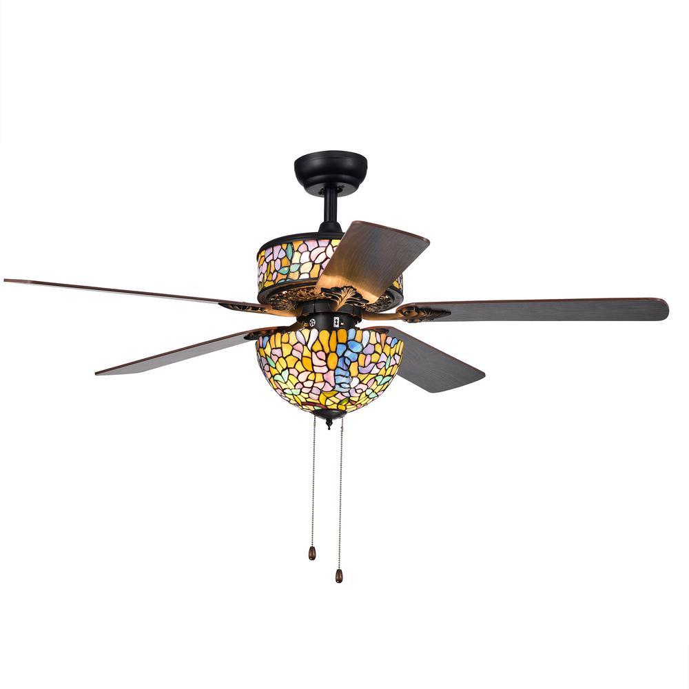 Hayfield 52 in. Indoor Art Glass Black Ceiling Fan with Light Kit