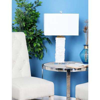 26 in. White Carved Marble Rectangular Table Lamp