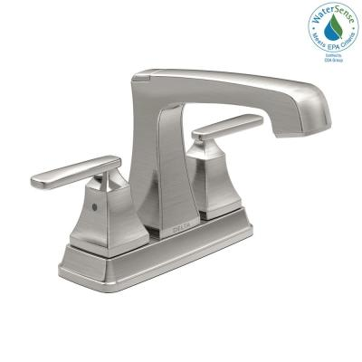 Ashlyn 4 in. Centerset 2-Handle Bathroom Faucet with Metal Drain Assembly in Stainless