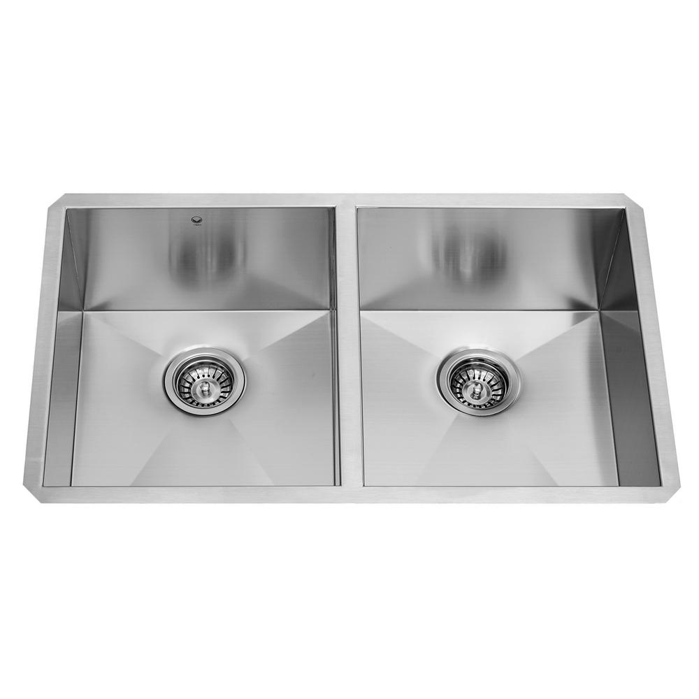 Medium image of vigo undermount stainless steel 32 in  double bowl kitchen sink with grid and strainer vg3219ak1   the home depot