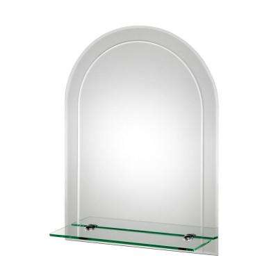 18 in. x 24 in. Fairfield Beveled Edge Arch Wall Mirror with Shelf and Hang 'N' Lock Easy Hanging System