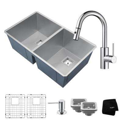 Pax Zero-Radius All-in-One Undermount Stainless Steel 32 in. 50/50 Double Bowl Kitchen Sink with Faucet in Chrome