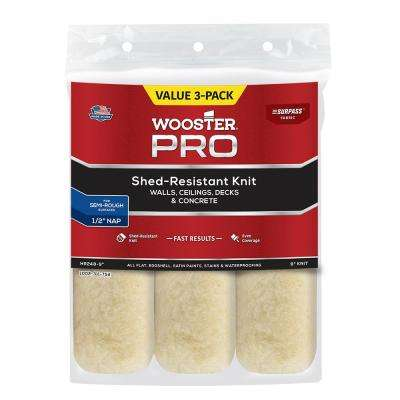 9 in. x 1/2 in. Pro Surpass Shed-Resistant Knit High-Density Fabric Roller Cover (3-Pack)
