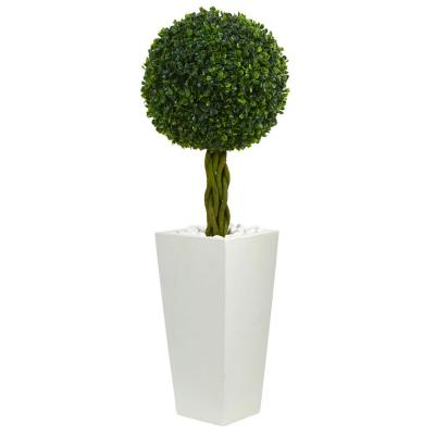 2.5 ft. High Indoor/Outdoor Boxwood Ball Topiary Artificial Tree in White Tower Planter