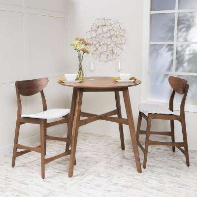 3-Piece Natural Walnut Wood and Light Beige Fabric Counter Height Dining Set