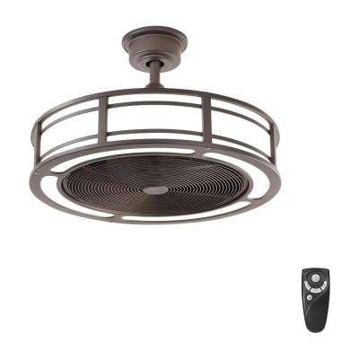 Brette 23 in. LED Indoor/Outdoor Espresso Bronze Ceiling Fan with Light Kit with Remote Control
