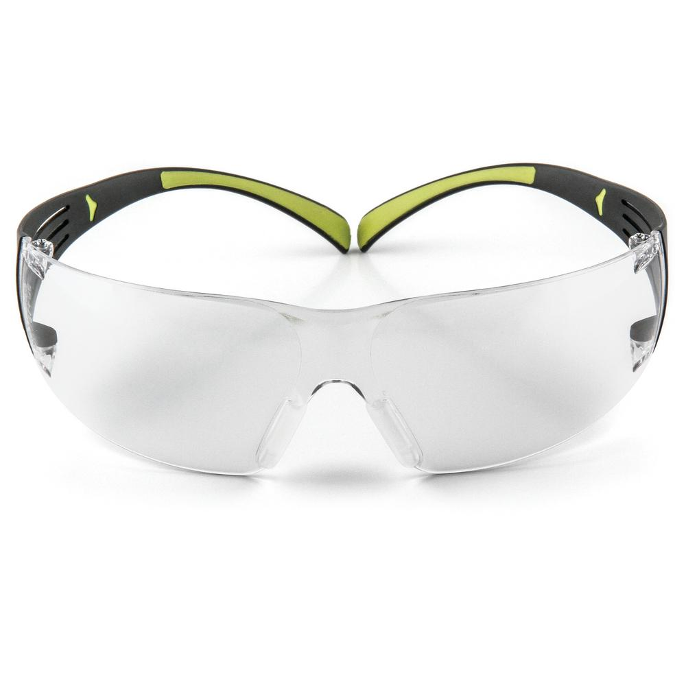 SecureFit 400 Black/Neon Green with Clear Anti-Fog Lenses Safety Glasses (Case