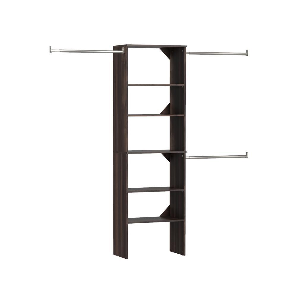 Style+ 14.72 in. D x 121.12 in. W x 82.46 in. H Modern Walnut Floor Mount 6-Shelf Wood Closet Kit With Hang Rods