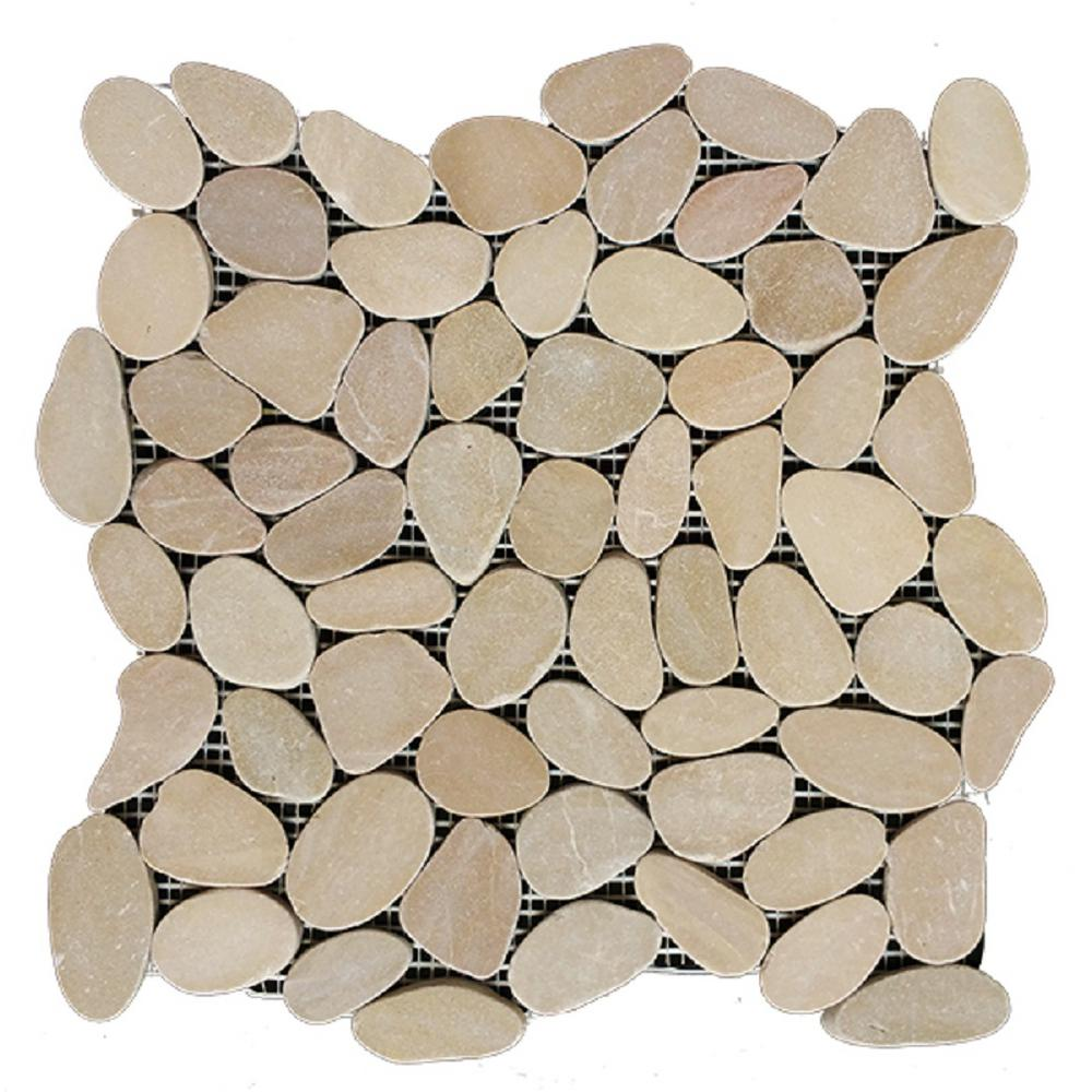 Rain Forest 12 in. x 12 in. Tan Honed Sliced Pebble Floor and Wall Tile (5.0 sq. ft. / case)