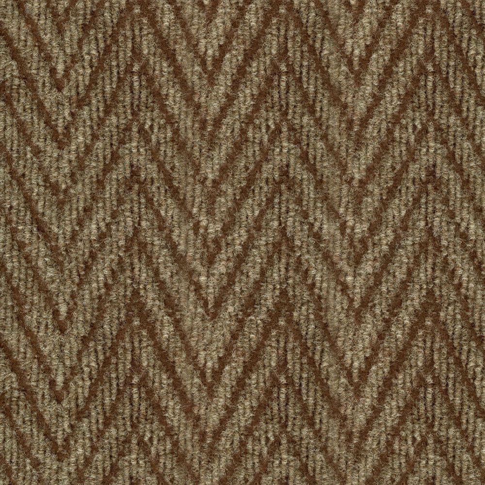 null Herringbone Taupe/Walnut 18 in. x 18 in. Carpet Tile, 16 Tiles-DISCONTINUED