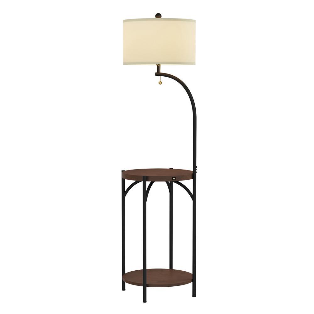 58 in. Dark Brown and Black Modern Rustic LED Floor Lamp
