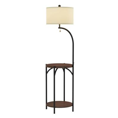58 in. Dark Brown and Black Modern Rustic LED Floor Lamp End Table with USB Charging Port