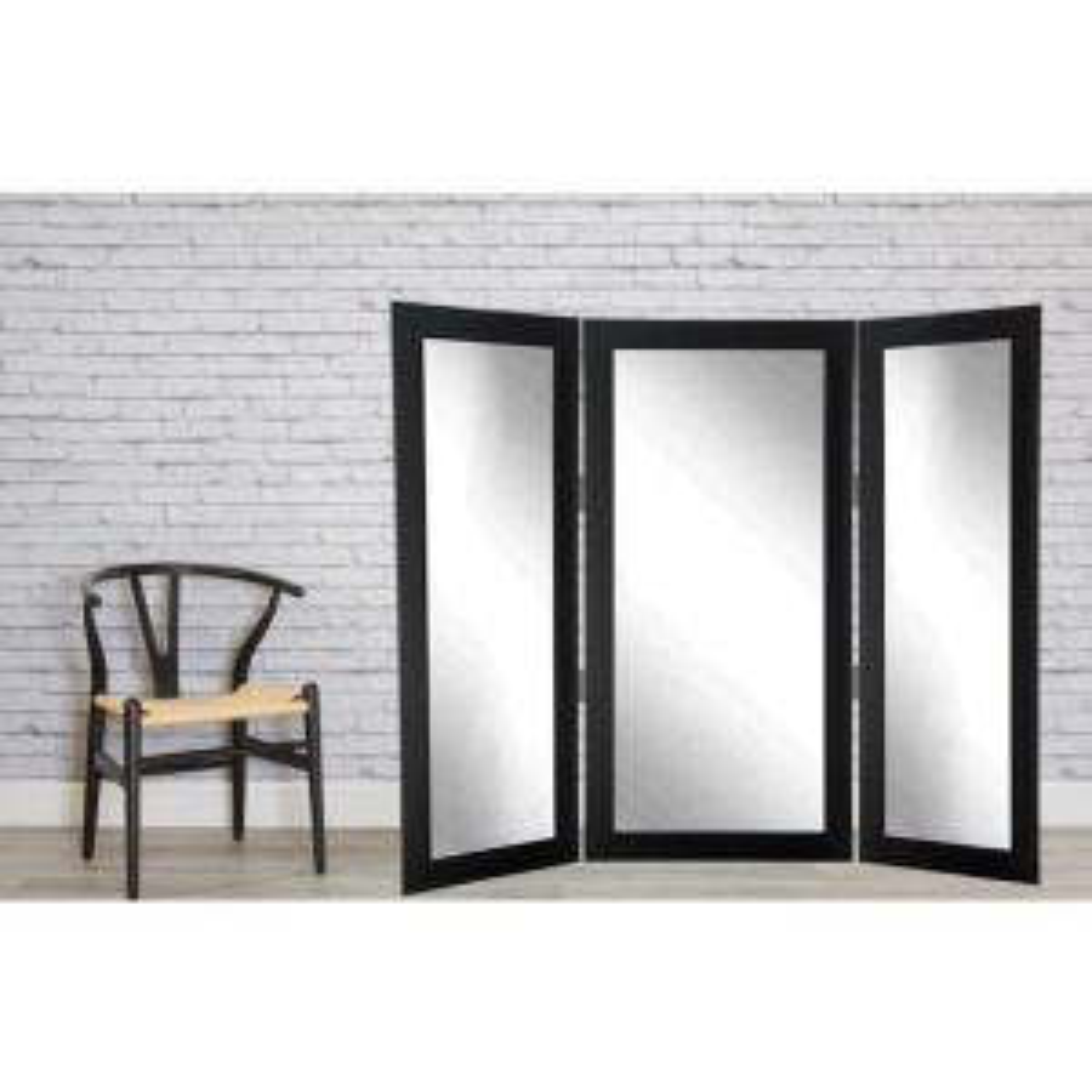 Full Body Black Trifold Dressing Mirror by