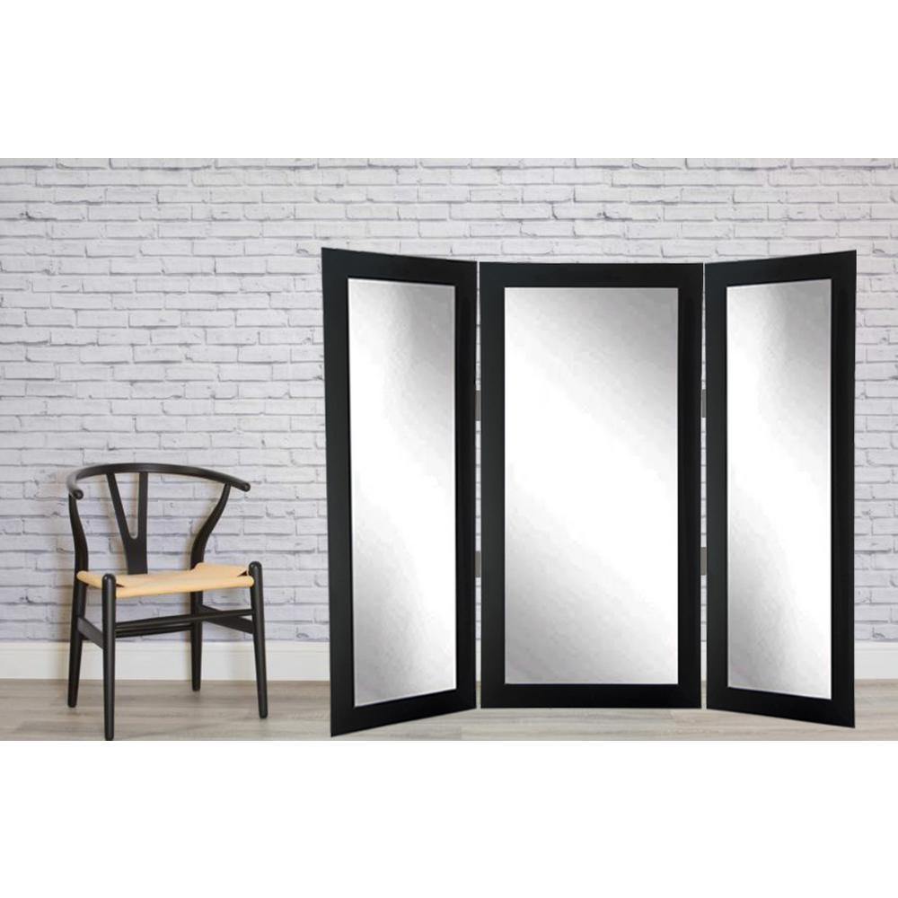Full Body Black Trifold Dressing Mirror-BM2TRIFOLD - The Home Depot