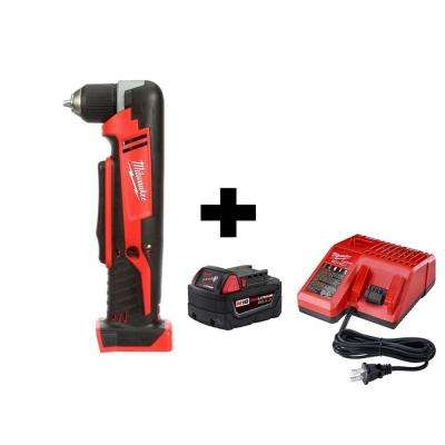 M18 18-Volt Lithium-Ion Cordless 3/8 in. Right-Angle Drill with M18 Starter Kit with One 5.0 Ah Battery and Charger