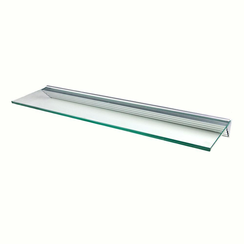 Wallscapes Glacier Clear Glass Shelf with Silver Bracket Shelf Kit (Price Varies By Size)