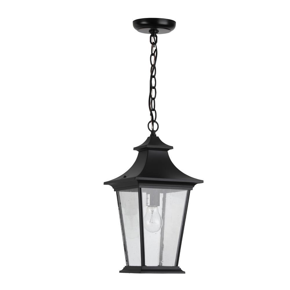 Greyson 1-Light Black Outdoor Pendant Light