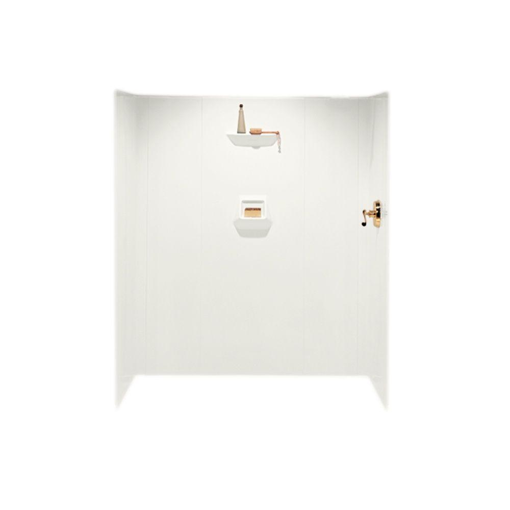 Swan 36 in. x 60 in. x 70 in. 6-piece Easy Up Adhesive Shower Wall Kit in Bisque