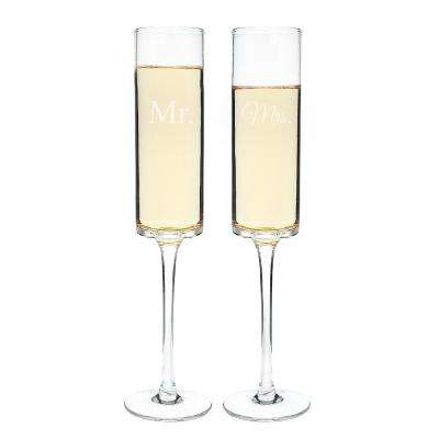 Mr. & Mrs. 8 oz. Contemporary Champagne Flutes (4-Pack)