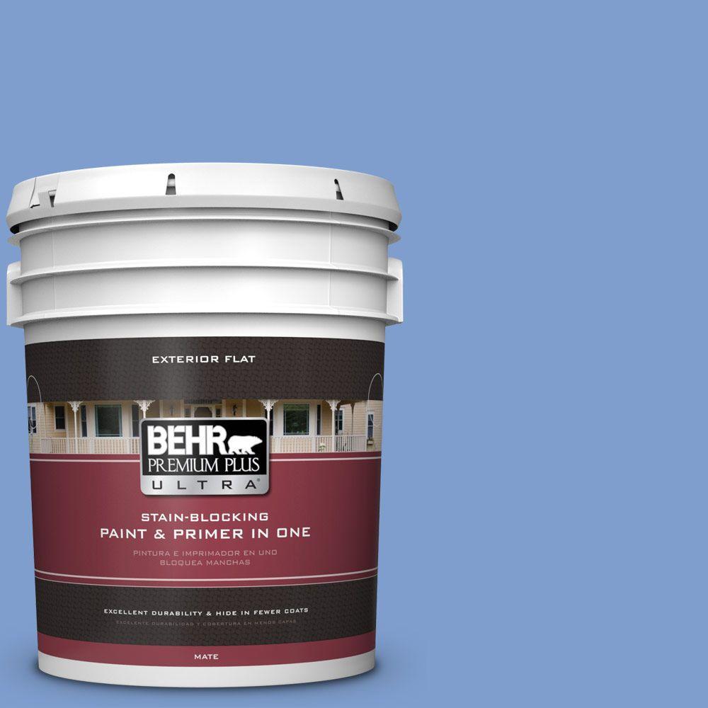 BEHR Premium Plus Ultra 5-gal. #BIC-09 Caribbean Sky Flat Exterior Paint