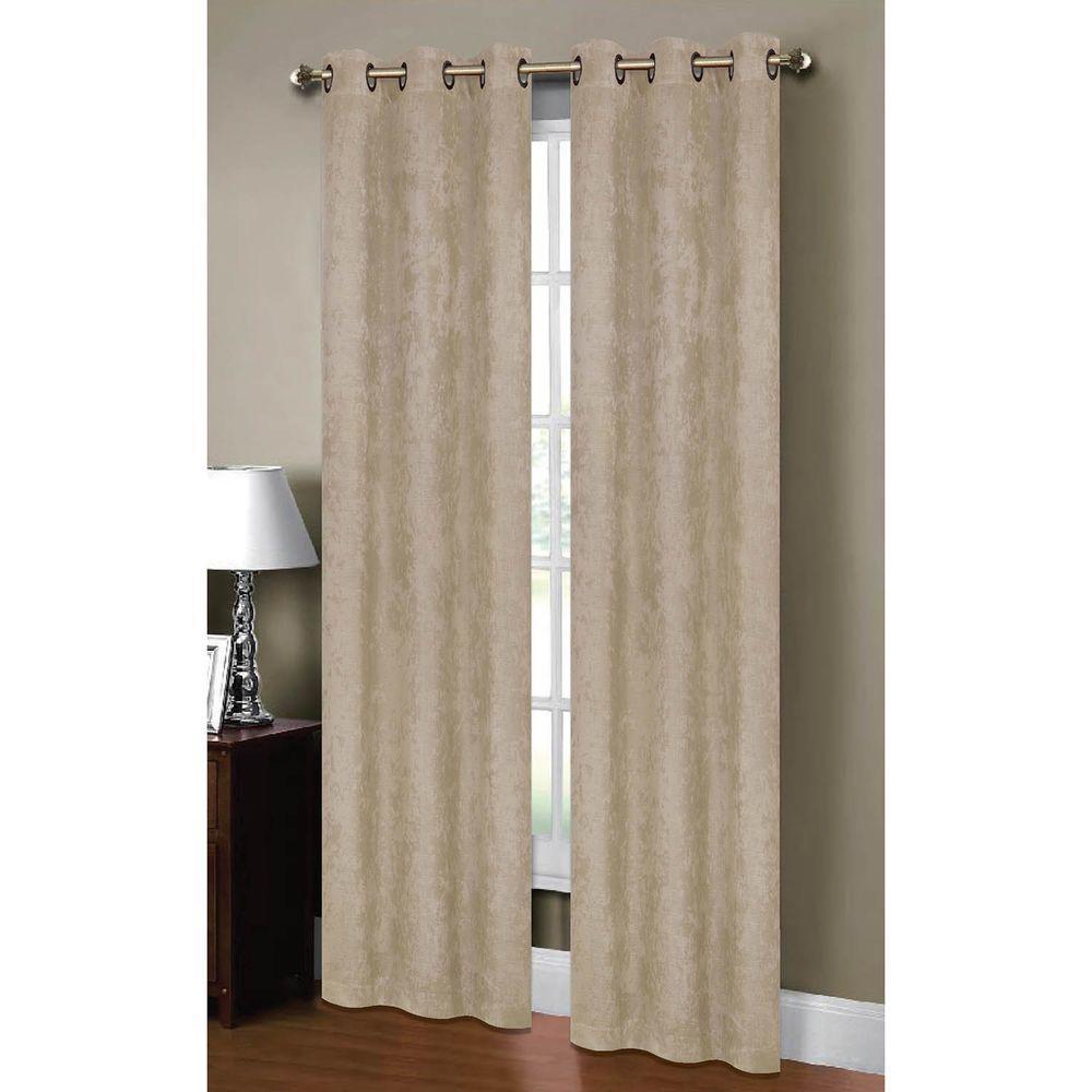 Bella Pair Blackout Weave Embossed Grommet Window Curtain Panels Set of 2