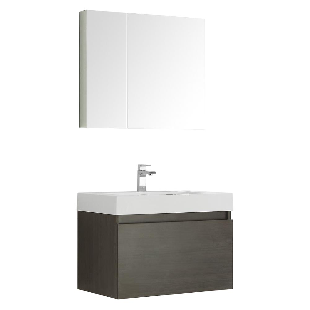 Mezzo 30 in. Vanity in Gray Oak with Acrylic Vanity Top