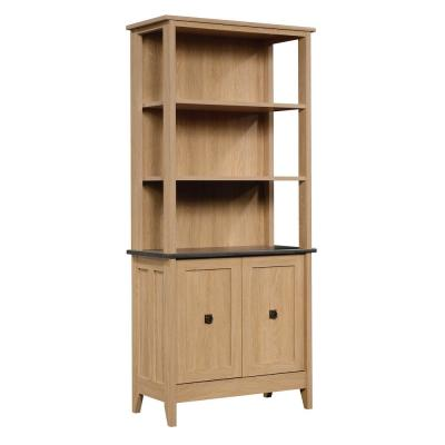 August Hill 72 in. Dover Oak Engineered Wood 5-Shelf Bookcase with Doors