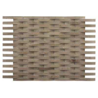 3D Reflex Athens Gray 9 in. x 11.5 in. x 12 mm Marble Mosaic Wall Tile