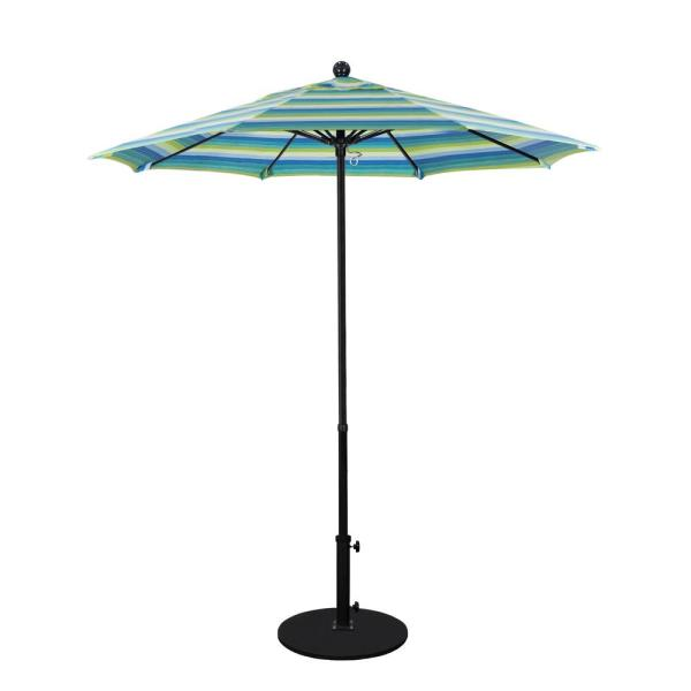 7.5 ft. Fiberglass Pole Market Fiberglass Ribs Push Lift Patio Umbrella in Seville Seaside Sunbrella