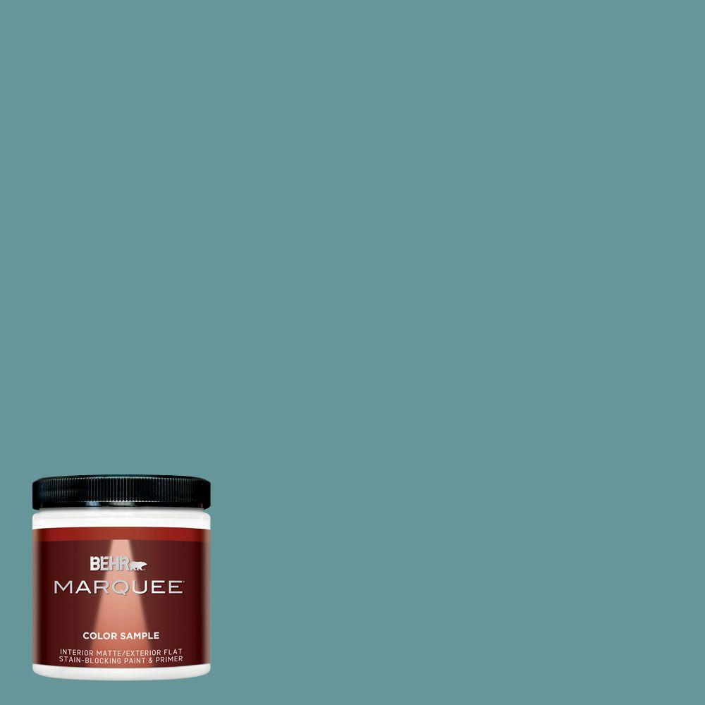 Behr Marquee 8 Oz Mq6 33 Vintage Teal One Coat Hide Matte Interior Exterior Paint And Primer In One Sample