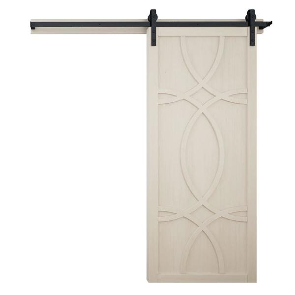 36 in. x 84 in. Hollywood Parchment Wood Sliding Barn Door with Hardware Kit