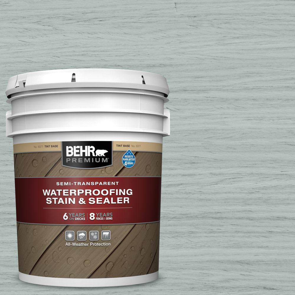 BEHR PREMIUM 5 gal. #ST-365 Cape Cod Gray Semi-Transparent Waterproofing Exterior Wood Stain and Sealer